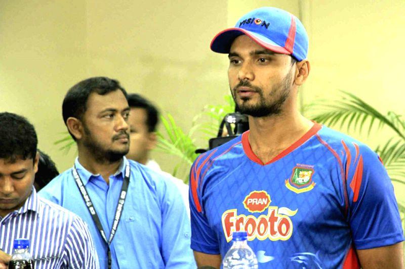 Bangladesh captain Mashrafe Mortaza during the press conference in Dhaka, Bangladesh, on April 18, 2015.
