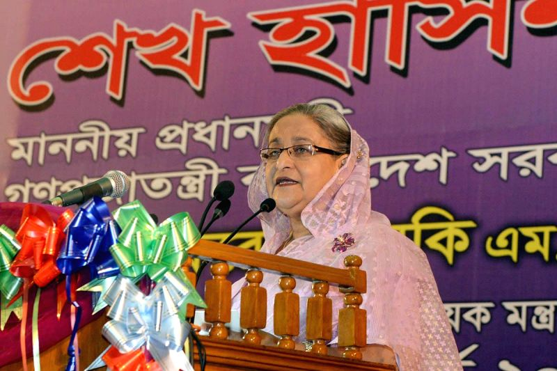 Bangladesh Prime Minister Sheikh Hasina addresses during a programme at Bangabandhu International Conference Centre in Dhaka, Bangladesh on March 8, 2015.