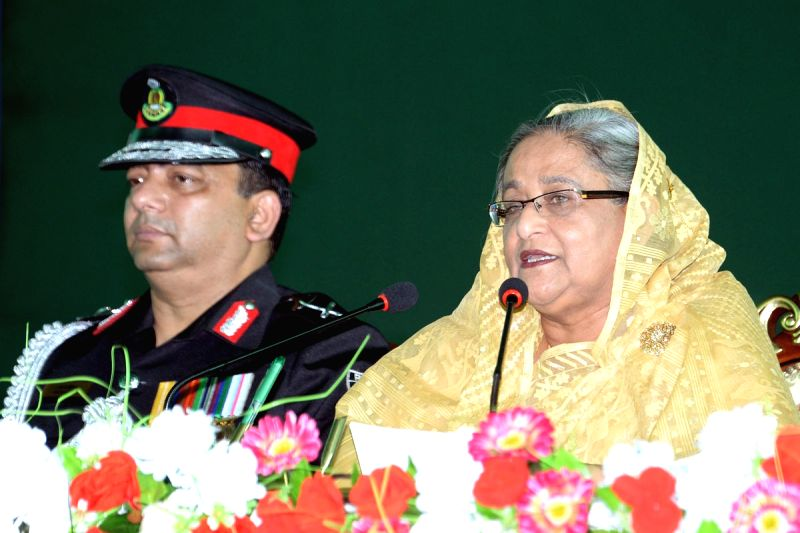 Bangladesh Prime Minister Sheikh Hasina during the raising anniversary of the Rapid Action Battalion (RAB) at its Kurmitola headquarters in Dhaka, Bangladesh on March 28, 2015.