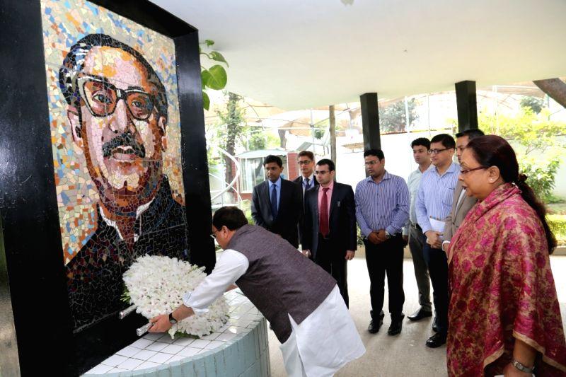 Dhaka (Bangladesh): Union Health Minister J P Nadda pays tribute to Bangladesh's former Prime Minister Sheikh Mujibur Rahman at Bangabandhu Sheikh Mujibur Rahman Memorial Museum in Dhaka, Bangladesh ... - J P Nadda