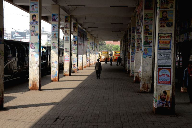Photo taken on  Feb. 11, 2015 shows a view of a nearly empty long journey bus station during a countrywide non-stop strike called by Bangladesh Nationalist Party ... - Khaleda Z