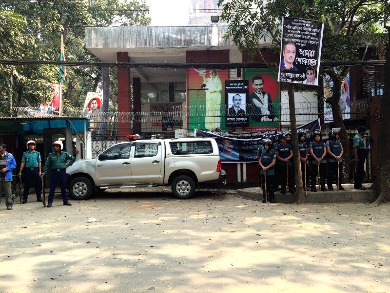 Policemen stand outside the office of Bangladeshi ex-Prime Minister Khaleda Zia in Dhaka, Bangladesh, Feb. 9, 2015. Bangladesh police on Monday barred hundreds of ... - Khaleda Zia