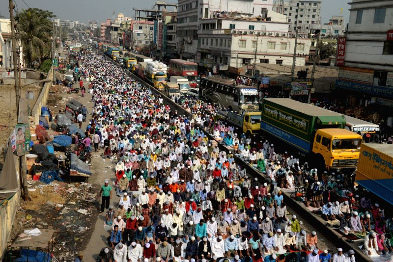 Muslim devotees flock to the bank of Turag River on the first day of the second phase of the Muslim congregation, known as Biswa Ijtema, on the outskirts of Dhaka, ...