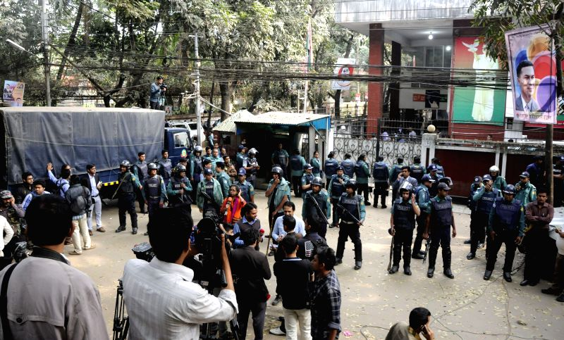 Police cordon off the office of Bangladeshi Ex-Prime Minister Khaleda Zia in Dhaka, Bangladesh, Jan. 5, 2014. Bangladeshi Ex-Prime Minister Khaleda Zia, who remained .. - Khaleda Zia