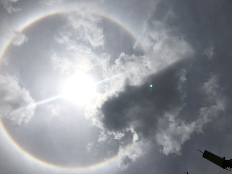 DHAKA, July 12, 2018 - Photo taken on July 12, 2018 shows a view of solar halo over Dhaka, capital of Bangladesh.