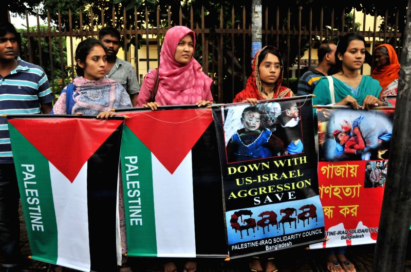 Bangladeshi social activists and left-wing political party supporters protest against ongoing Israeli air raids on the Gaza Strip that has left over 200 people dead ..