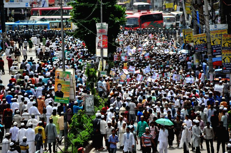 Bangladeshi Muslims attend a protest rally against ongoing Israeli air raids on the Gaza Strip that has left over 200 people dead and more than 1,700 wounded in ...