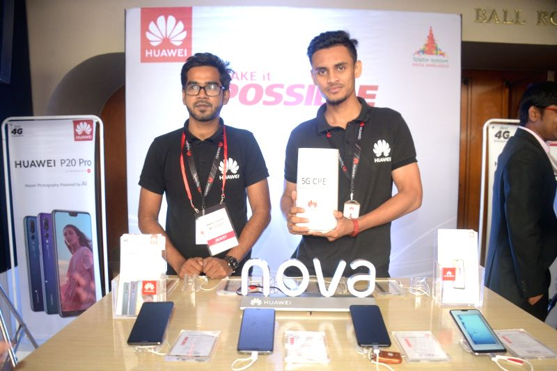 DHAKA, July 25, 2018 - Huawei products are displayed on the sidelines of the Bangladesh 5G Summit 2018 in Dhaka, Bangladesh, on July 25, 2018. Chinese telecommunications giant Huawei conducted ...