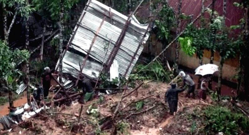 DHAKA, June 13, 2017 - A screenshot taken from a video on June 13, 2017 shows damaged houses in Bangladesh's southeastern Rangamati district. The death toll from early Tuesday's devastating ...