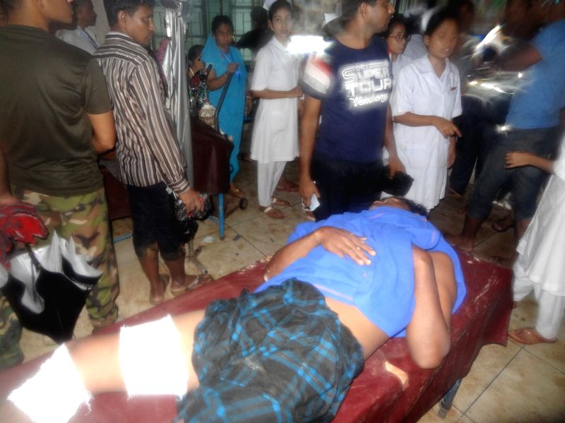 DHAKA, June 13, 2017 - Photo taken on June 13, 2017 shows a landslide victim at a hospital in Bangladesh's southeastern Rangamati district. Scores of people including an army major and six soldiers ...