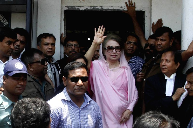DHAKA, June 2, 2016 - Bangladesh's former Prime Minister and Bangladesh Nationalist Party Chairperson Khaleda Zia (C) waves after arriving at a court hearing of two graft cases in Dhaka, Bangladesh, ...