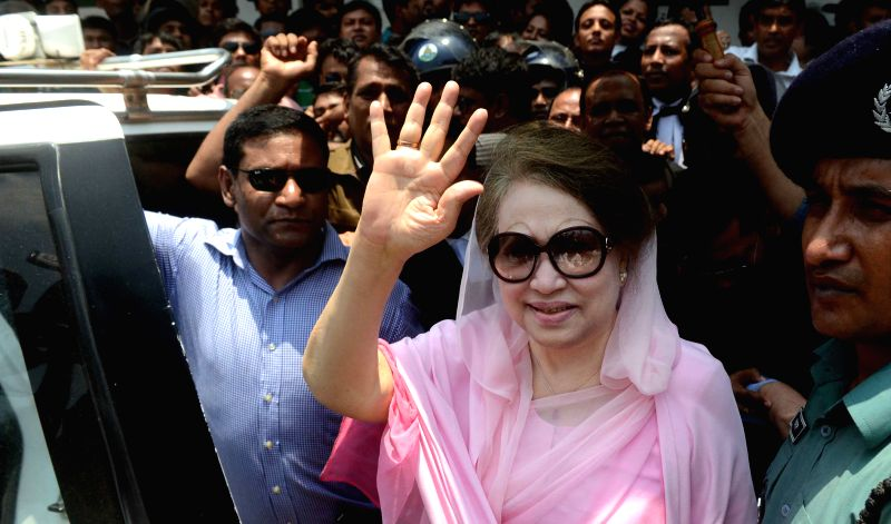 DHAKA, June 2, 2016 - Bangladesh's former Prime Minister and Bangladesh Nationalist Party Chairperson Khaleda Zia (2nd R, front) waves after arriving at a court hearing of two graft cases in Dhaka, ...