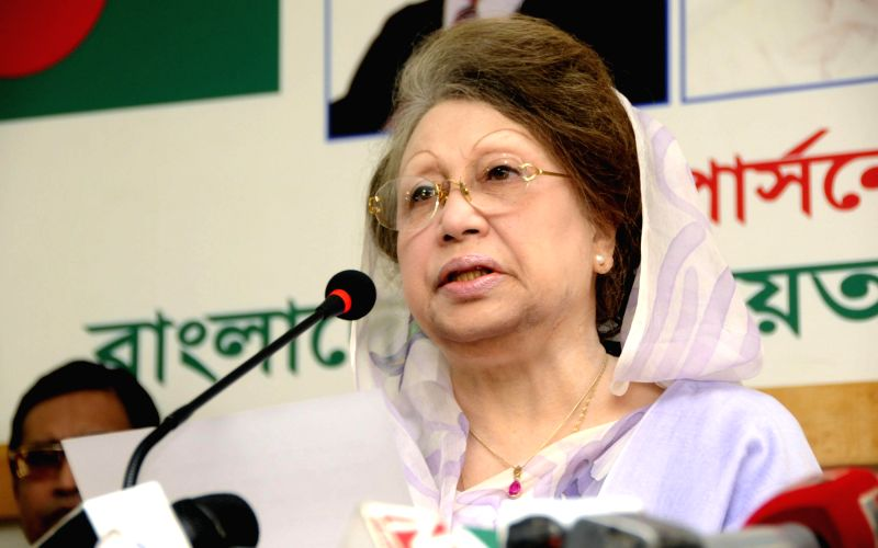 Bangladesh Nationalist Party (BNP) Chairperson and former Prime Minister Khaleda Zia delivers a speech during a press conference at her office in Dhaka, Bangladesh, ...