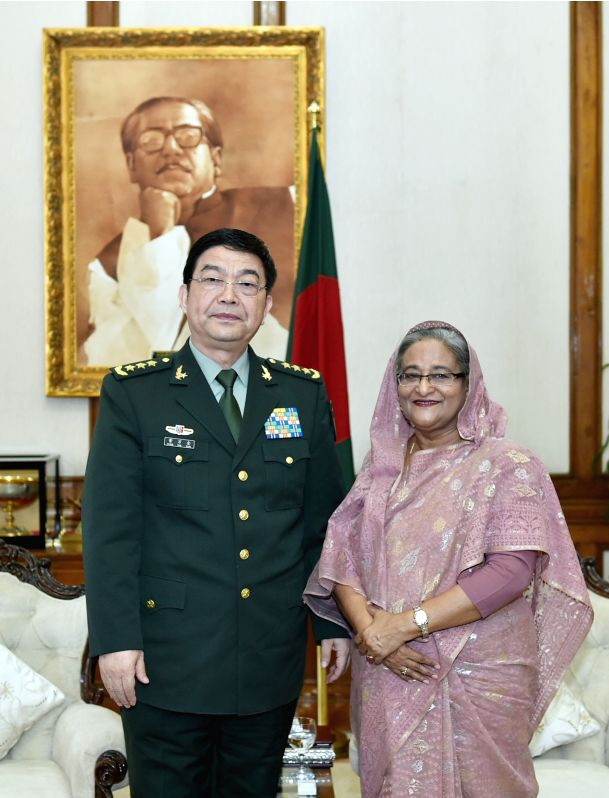 DHAKA, May 30, 2016 - Visiting Chinese Defense Minister Chang Wanquan (L) meets with Bangladesh Prime Minister Sheikh Hasina in Dhaka, Bangladesh, May 30, 2016. (Xinhua/Li Xiaowei) - Chang Wanquan and Hasina