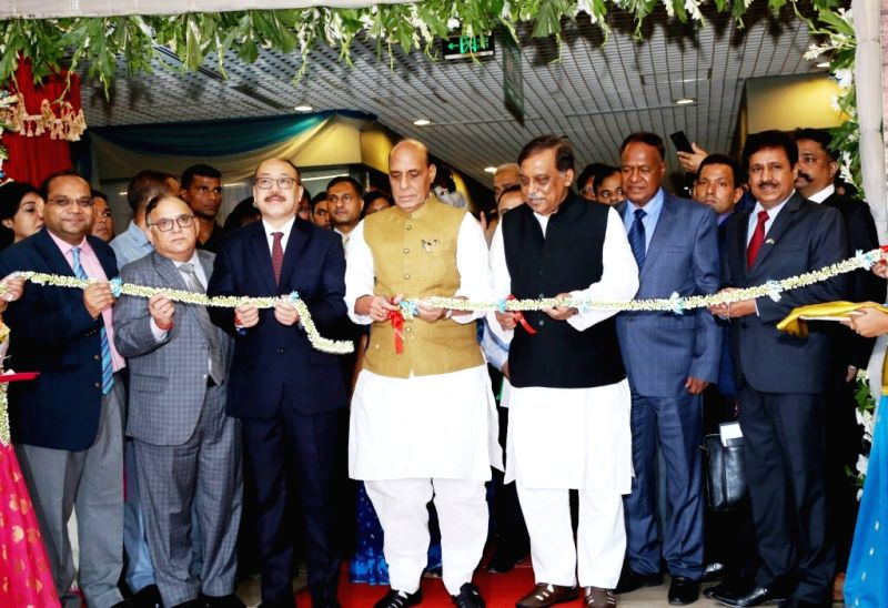 :Dhaka: Union Home Minister Rajnath Singh inaugurates the state of the art Indian Visa Application Centre (IVAC), in Dhaka on July 14, 2018. (Photo: IANS/HMO).
