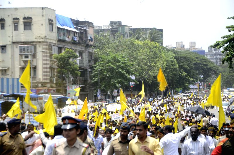 `Dhangar` participate in a rally organised from Byculla to CST in Mumbai on August 1, 2014.