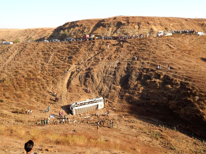 The site where a private bus fell into a deep gorge in Machalia Ghat in Dhar district of Madhya Pradesh on Feb 17, 2015. 10 people are feared dead and many others injured.