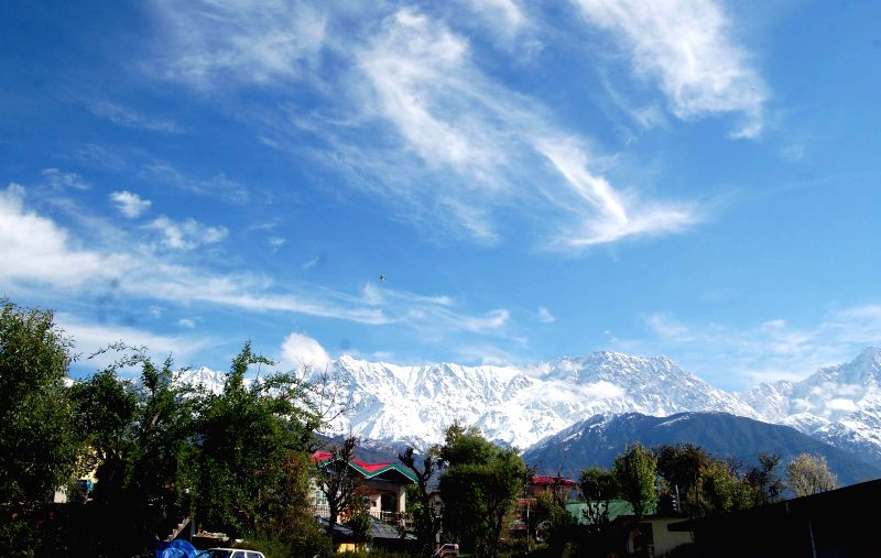 A view of snow clad Dhauladhar range from Dharamsala  on March 17, 2015.