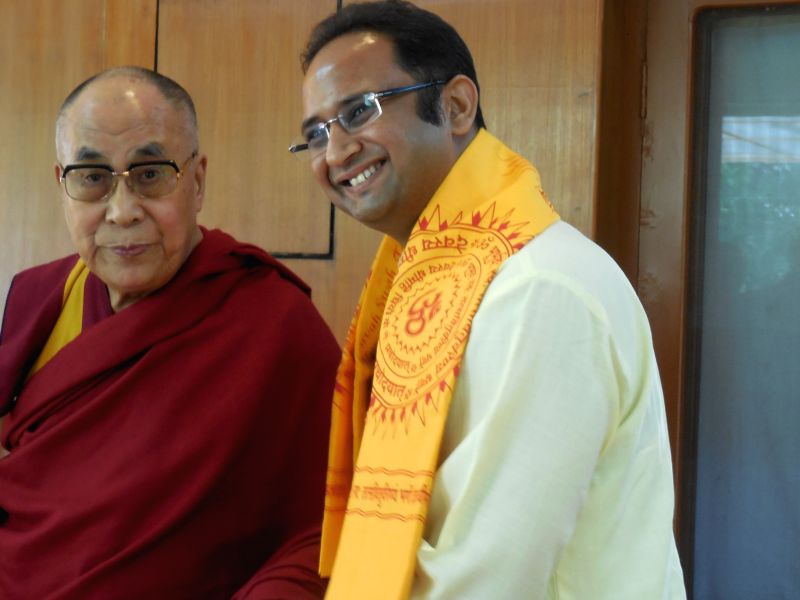 Dev Sanskriti Vishwavidyalaya Pro Vice- Chancellor Dr. Chinmay Pandya calls on Tibetan spiritual leader the Dalai Lama in Dharamsala  on April 30, 2015.