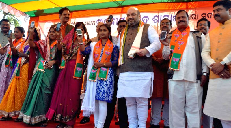 BJP chief Amit Shah during a party programme in Dhauli village, situated in the outskirts of Bhubaneswar on Jan. 7, 2014.