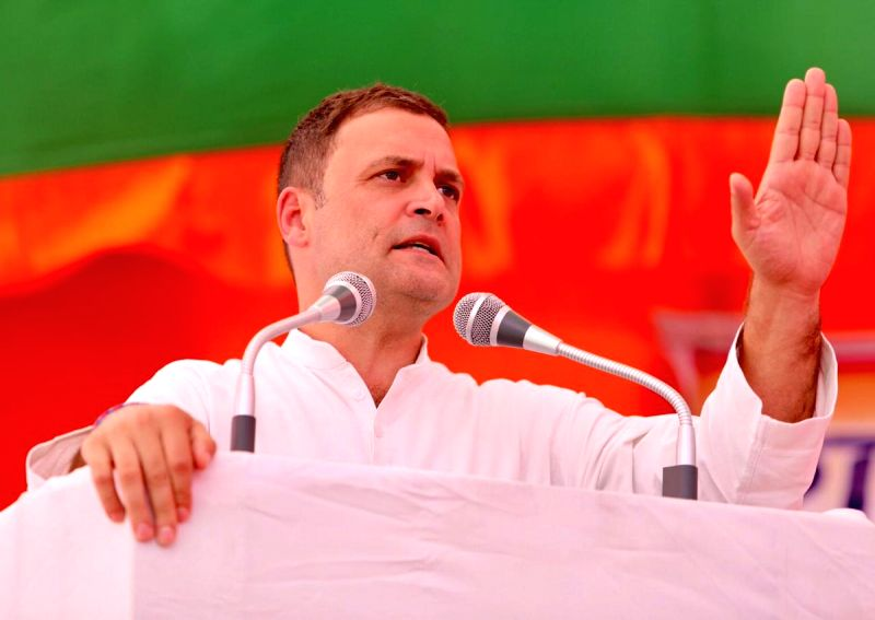 : Dholpur: Congress President Rahul Gandhi addresses during a public meeting in Dholpur, Rajasthan on Oct 9, 2019. (Photo: IANS/Congress).(Image Source: IANS)