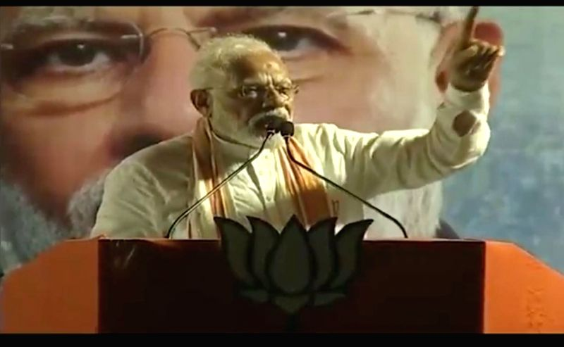 Diamond Harbour: Prime Minister Narendra Modi addresses a BJP rally in Diamond Harbour, West Bengal on May 15, 2019.