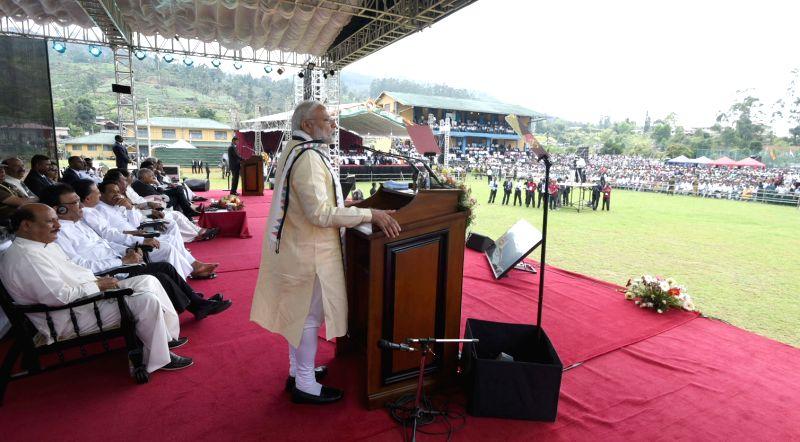 Dickoya (Sri Lanka): Prime Minister Narendra Modi addresses at the Indian origin Tamil Community function in Dickoya, Sri Lanka on May 12, 2017. - Narendra Modi