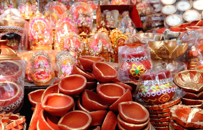 Different varieties of earthen lamps on sale ahead of Diwali celebrations.
