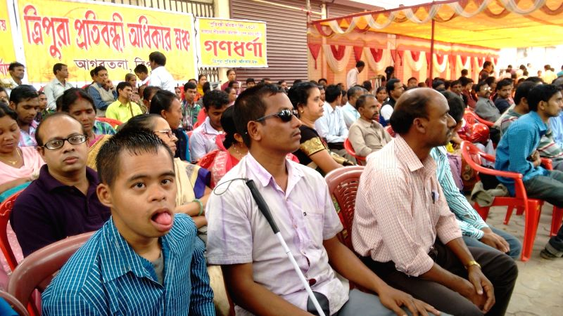 Differently-abled participate in a demonstration against the central government on World Disability Day in Agartala on Dec 3, 2015.