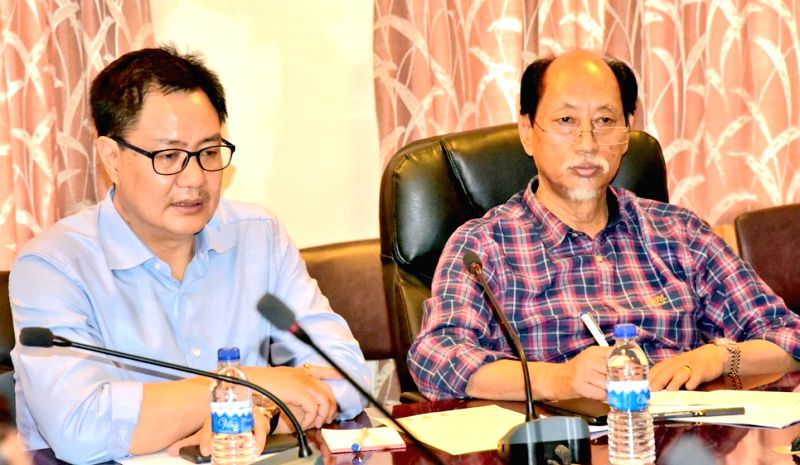 : Dimapur: Union MoS Home Affairs Kiren Rijiju and Nagaland Chief Minister Neiphiu Rio at a high-level meeting, to review the flood and landslide situation, in Dimapur, Nagaland, on August 5, 2018. ...