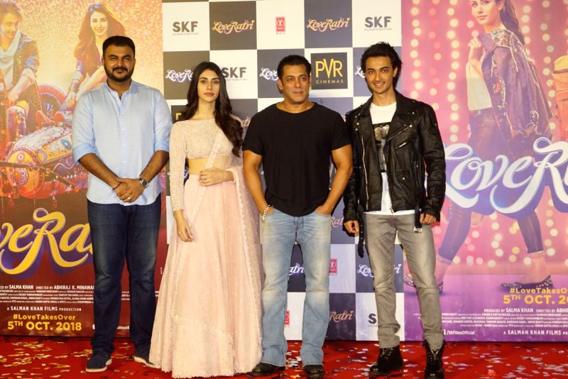 "Director Abhiraj Minawala, actors Salman Khan, Warina Hussain and Aayush Sharma at the trailer launch of their upcoming film ""Loveratri"" in Mumbai on Aug 6, 2018. - Salman Khan, Warina Hussain and Aayush Sharma"