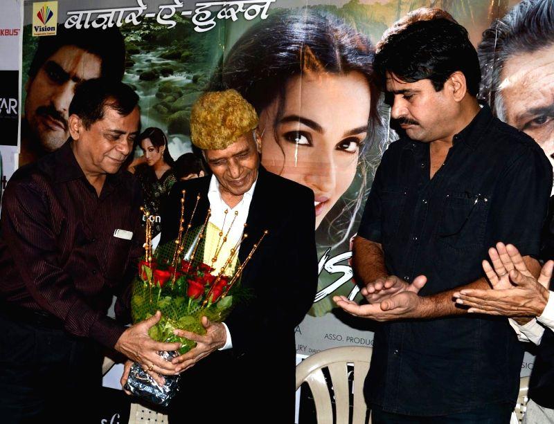 Director Ajay Mehra , Music director Khayyam Sahab, Actor Yashpal Sharma during a press meet of film Bazaar-E-Husn based on Munshi Premchandji's Urdu novel in Mumbai on July 11, 2014. - Yashpal Sharma