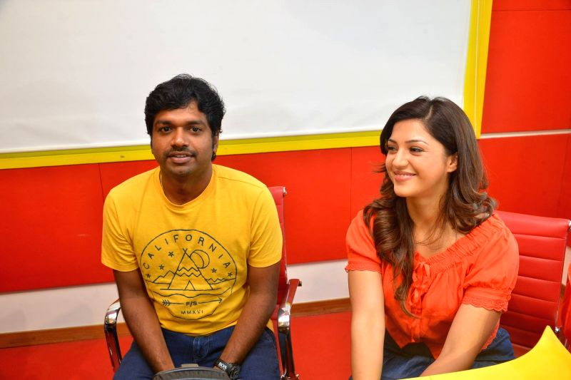 "Director Anil Ravipudi and actress Mehrene Kaur Pirzada during the promotion of their upcoming film ""Raja the Great"" on the Radio Mirchi 98.3 FM in Hyderabad. - Mehrene Kaur Pirzada"