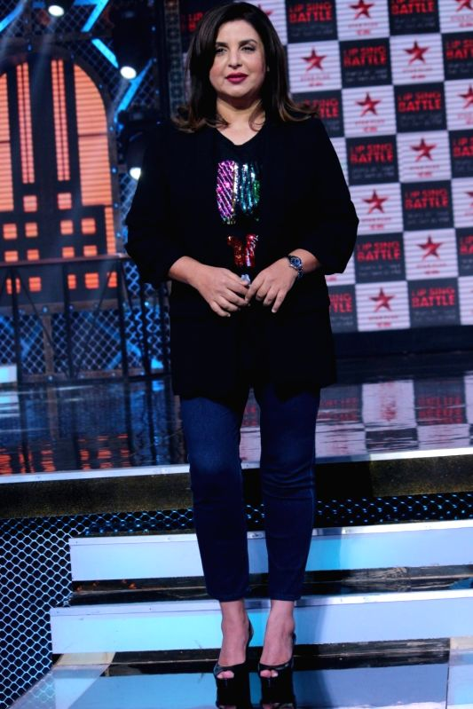 "Director Farah Khan Kunder during a press conference regarding Star Plus' show ""Lip Sing Battle"" in Mumbai on Sept 7, 2017. - Farah Khan Kunder"