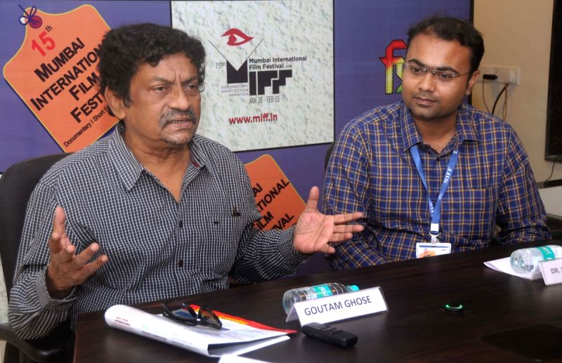 Director Gautam Ghose addresses a press conference at Media Centre, MIFF-2018 in Mumbai on Jan 29, 2018.