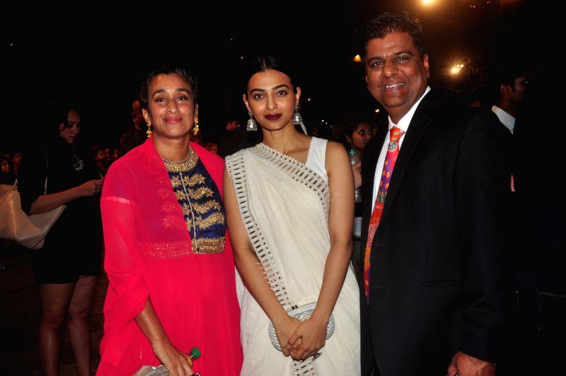 Director Geeta Gandbhir, Rahikaa Apte and international fimmaker Irfan Izhar during Jio MAMI 17th Mumbai Film Festival Opening Ceremony in Mumbai on Oct 30, 2015.