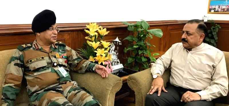 Director General of Armed Forces Medical Service Bipin Puri calls on Union MoS Development of North Eastern Region Jitendra Singh, in New Delhi, on July 27, 2018.