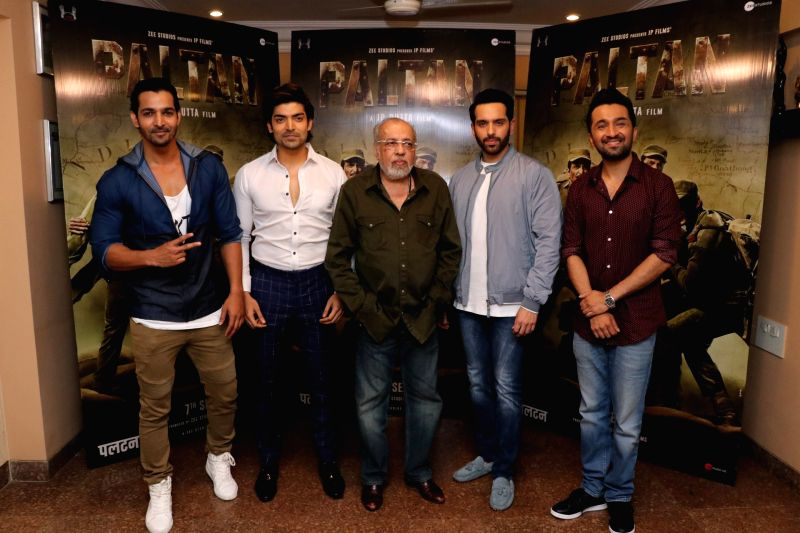 "Director J.P.Dutta, actors Harshvardhan Rane, Gurmeet Choudhary, Luv Sinha and Siddhanth Kapoor during the promotion of their upcoming film ""Paltan"" in Mumbai on Aug 10, 2018. - Harshvardhan Rane, Gurmeet Choudhary, Luv Sinha and Siddhanth Kapoor"