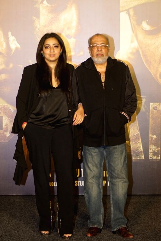 "Director J.P. Dutta with his daughter Nidhi Dutta at the trailer launch of his upcoming film ""Paltan"", in Mumbai on Aug 2, 2018."