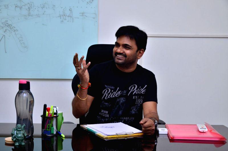 Director Maruthi birthday interview stills in Hyderabad.