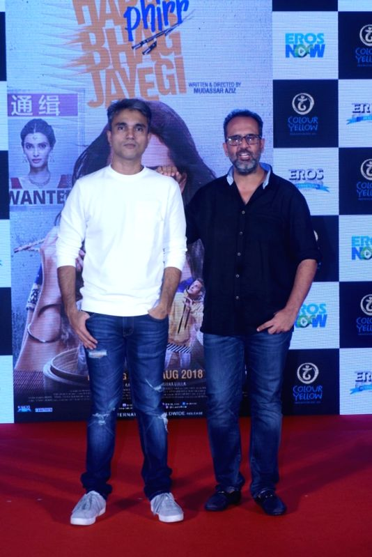 "Director Mudassar Aziz and producer Aanand L Rai at the trailer launch of their upcoming film ""Happy Phirr Bhag Jayegi""  in Mumbai on July 25, 2018. - Aanand L Rai"