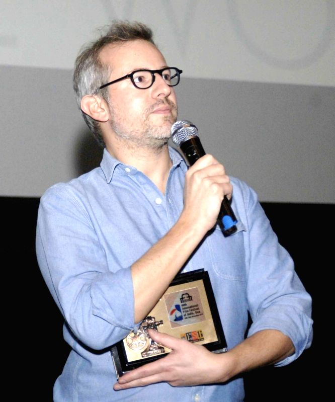 Director of `I am a Soldier`, Laurent Larivere addresses during the film presentation, at the 46th International Film Festival of India (IFFI-2015), in Panaji, Goa on Nov 29, 2015.