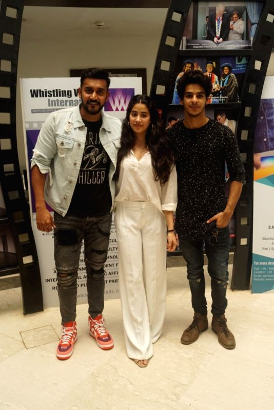 Director Shashank Khaitan, actors Janhvi Kapoor and Ishaan Khatter during a interactive session with students at the Whistling Woods in Mumbai on Aug 8, 2018. - Janhvi Kapoor and Ishaan Khatter