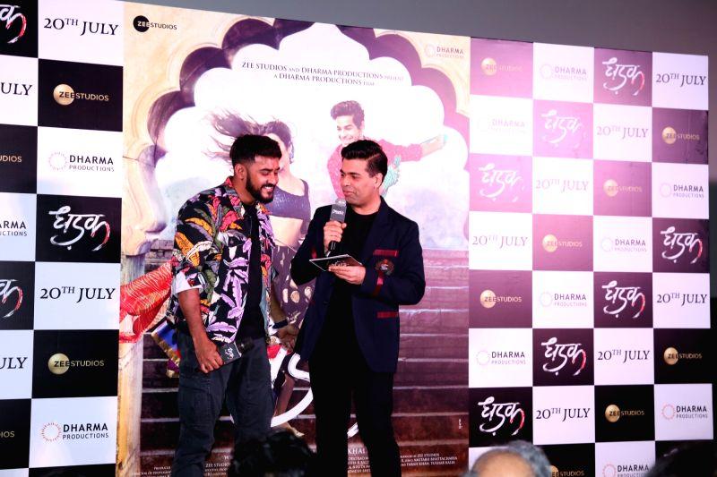 "Director Shashank Khaitan and producer Karan Johar at the trailer launch of their upcoming film ""Dhadak""  in Mumbai on June 11, 2018. - Karan Johar"