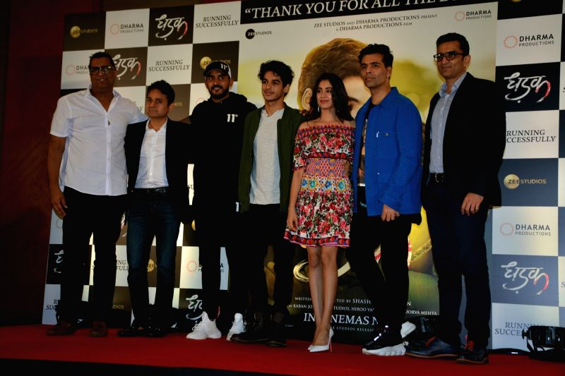 "Director Shashank Khaitan, producer Karan Johar, actors Ishaan Khatter and Janhvi Kapoor during the success meet of their film ""Dhadak"" in Mumbai on July 26, 2018. - Ishaan Khatter, Janhvi Kapoor and Karan Johar"