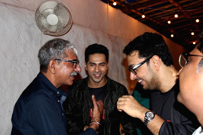 Director Sriram Raghavan, Varun Dhawan and Dinesh Vijan during the wrap up party of film Badlapur in Mumbai, on August 17, 2014.