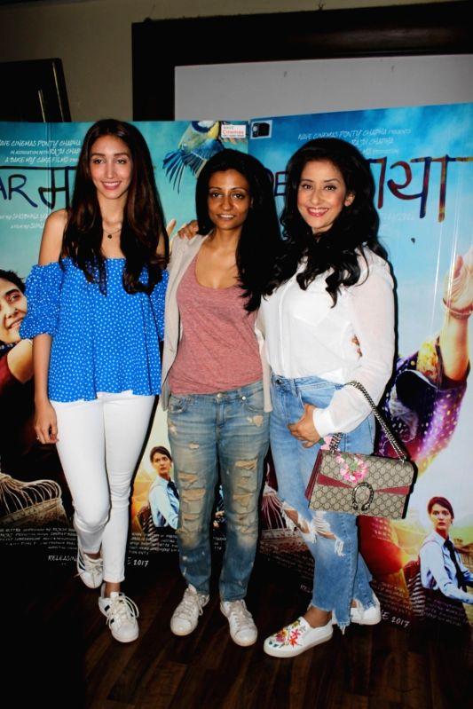 Director Sunaina Bhatnagar with actress Shreya Chaudhary and Manisha Koirala during the interview for film Dear Maya in Mumbai on May 27, 2017. - Shreya Chaudhary and Manisha Koirala