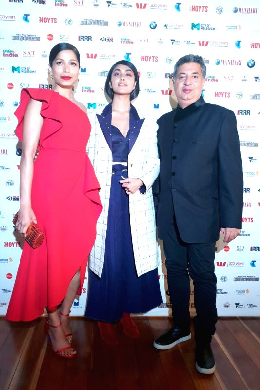 Director Tabrez Noorani, actresses Mrunal Thakur, and Freida Pinto at the Indian Film Festival of Melbourne (IFFM) in Melbourne on Aug 11, 2018. - Mrunal Thakur