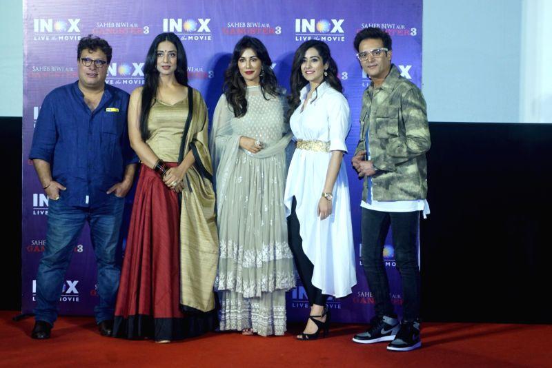 "Director Tigmanshu Dhulia, actors Mahie Gill, Jimmy Sheirgill and Chitrangada Singh at the promotion of their upcoming film ""Saheb Biwi Aur Gangster 3"" in Mumbai on July 23, 2018."