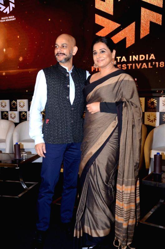 Director Vijay Krishna Acharya and actress Vidya Balan at the Malta India Film Festival 2018 in Mumbai on Aug 9, 2018. - Vidya Balan